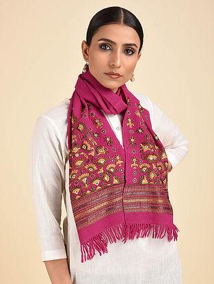Pink-Yellow Pakko Embroidered Wool Muffler