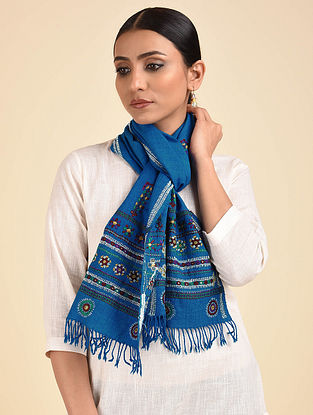 Blue Pakko Embroidered Wool Muffler