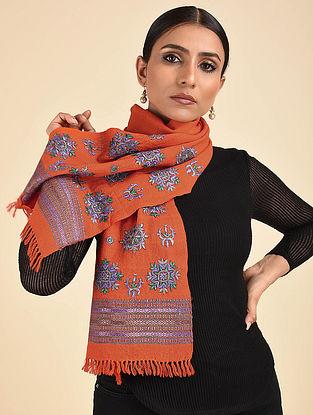 Orange Pakko Embroidered Wool Muffler
