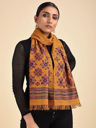 Mustard Pakko Embroidered Wool Muffler