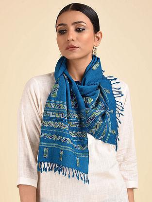 Blue-Green Ahir Embroidered Wool Muffler