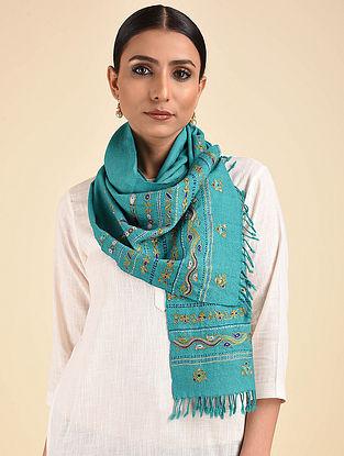 Blue Ahir Embroidered Wool Muffler