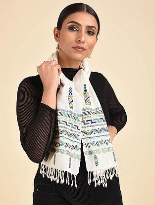 Ivory-Blue Ahir Embroidered Wool Muffler