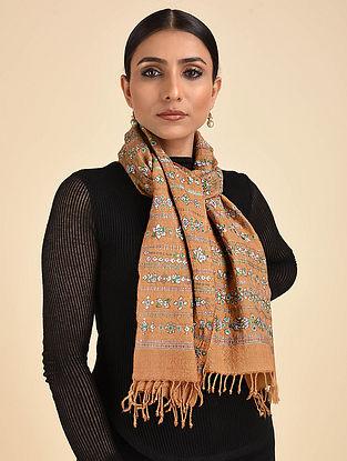 Beige Neran Embroidered Wool Muffler