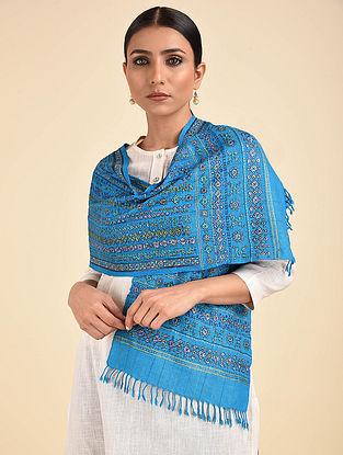 Blue Neran Embroidered Wool Muffler