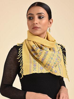 Yellow Neran Embroidered Wool Muffler