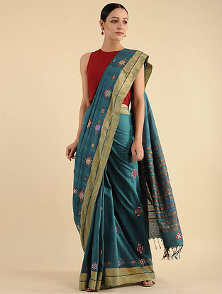 Blue Pakko Embroidered Cotton Saree