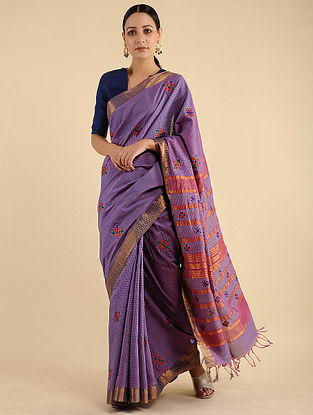 Purple Pakko Embroidered Cotton Saree