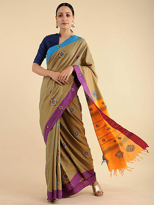 Beige-Yellow Pakko Embroidered Cotton Saree