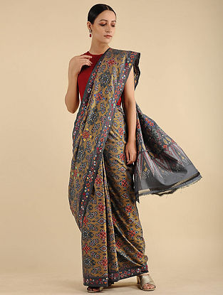 Grey-Beige Mutwa Embroidered Ikat Cotton Saree