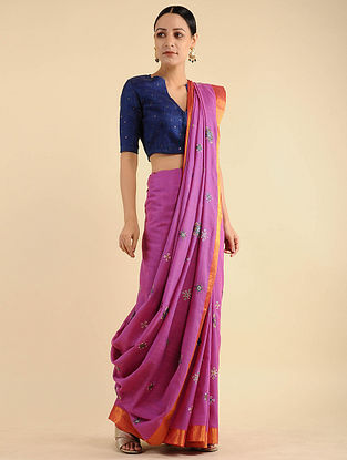 Purple-Orange Ahir Embroidered Cotton Saree
