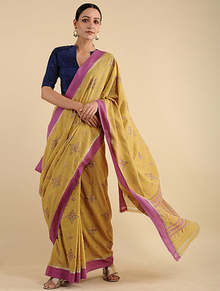 Yellow-Pink Soof Embroidered Cotton Saree