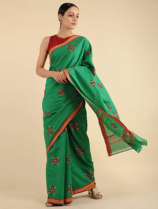 Green-Red Pakko Embroidered Cotton Saree