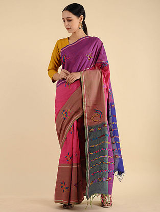 Purple-Pink Pakko Embroidered Cotton Saree