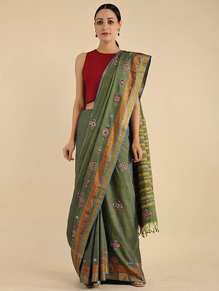 Green Pakko Embroidered Cotton Saree