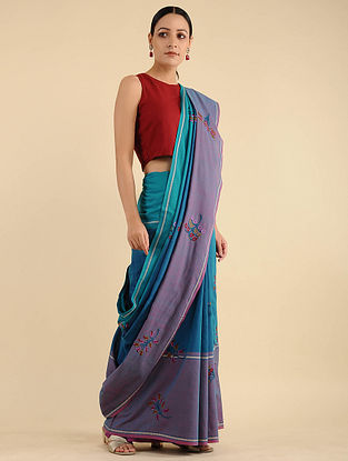 Blue-Purple Pakko Embroidered Cotton Saree