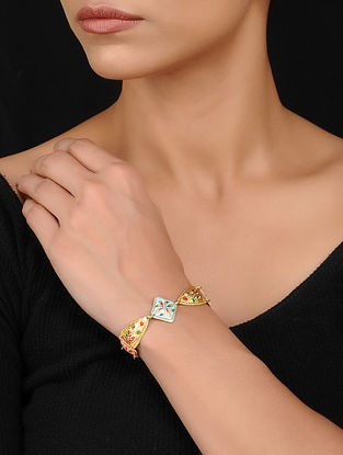 Multicolored Handpainted Gold Tone Silver Bracelet