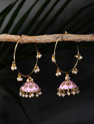 Pink Handpainted Gold Tone Silver Jhumki Earrings with Pearls
