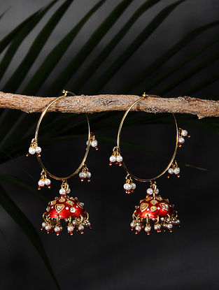 Red Handpainted Gold Tone Silver Jhumki Earrings with Pearls