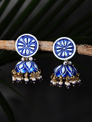 Blue White Handpainted Gold Tone Silver Jhumki Earrings with Pearls