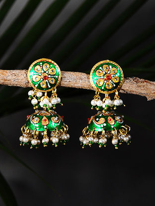 Green Handpainted Gold Tone Silver Jhumki Earrings with Pearls