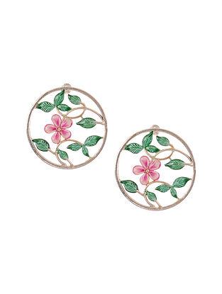 Green Pink Handpainted Silver Earrings