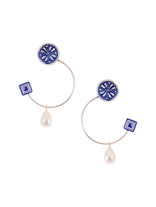 Blue White Handpainted Silver Earrings with Pearls
