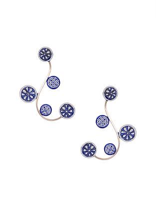 Blue White Handpainted Silver Earrings