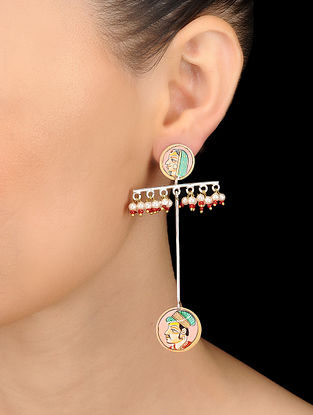 Multicolored Hand-painted Silver Earrings with Pearls