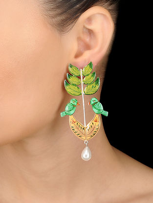 Green-Peach Hand-painted Silver Earrings with Pearls