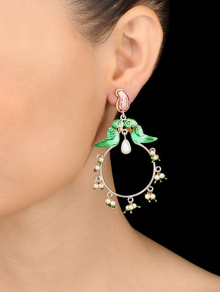 Green-Pink Hand-painted Silver Earrings with Pearls