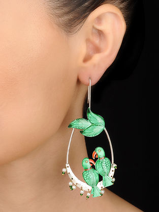 Green-Red Hand-painted Silver Earrings with Pearls