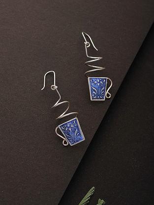 Blue-White Enameled Silver Earrings