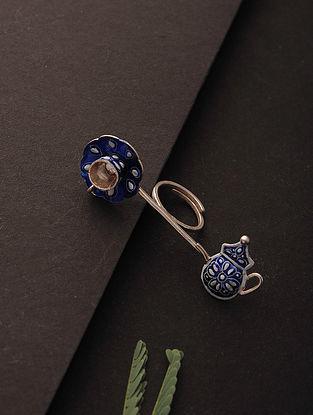 Blue-White Enameled Adjustable Silver Ring