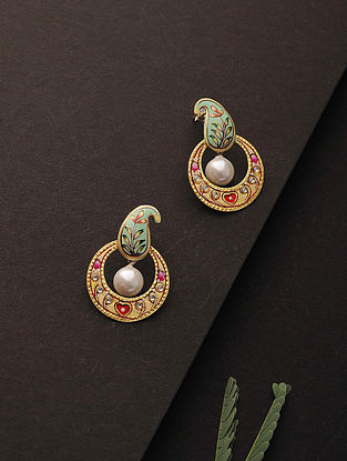 Multicolored Enameled Silver Earrings with Pearls