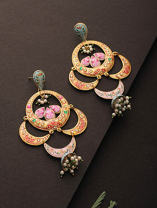 Multicolored Enameled Silver Jhumkis with Pearls
