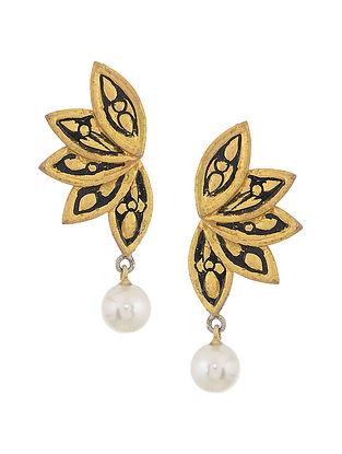 Black Enameled Gold Tone Silver Earrings