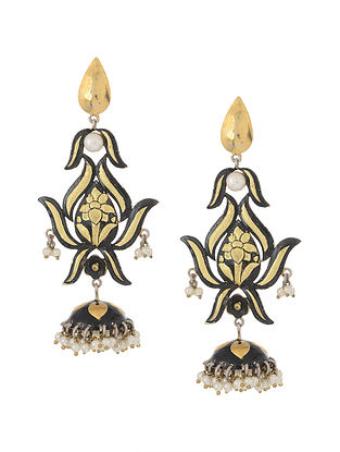 Black Enameled Dual Tone Silver Jhumkis with Pearls