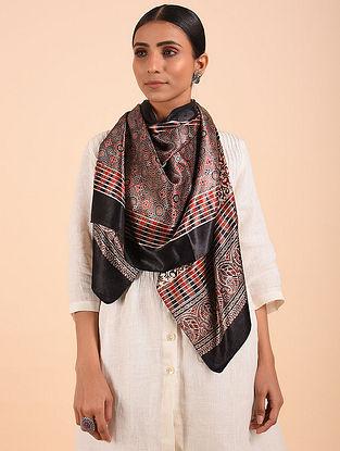 Black Ajrakh Mashru Silk Stole