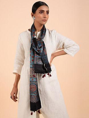 Black-Blue Ajrakh Mashru Silk Stole