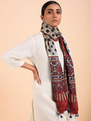 Orange-Ivory Ajrakh Mashru Silk Stole