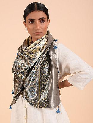 Grey-Blue Ajrakh Mashru Silk Stole