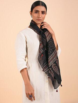 Black-Grey Ajrakh Chanderi Silk Stole
