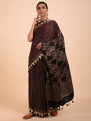 Black-Orange Ajrakh Modal Silk Saree