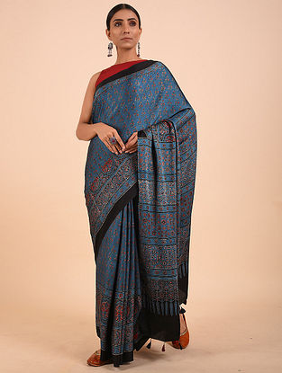 Blue Ajrakh Modal Silk Saree
