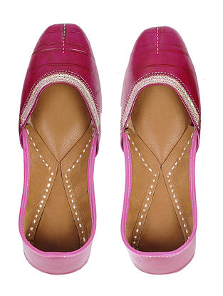 Pink Handcrafted Leather Juttis with Tilla Embroidery