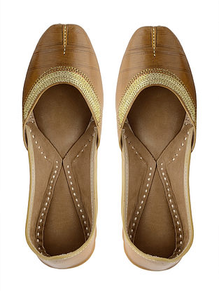 Yellow Handcrafted Leather Juttis with Tilla Embroidery