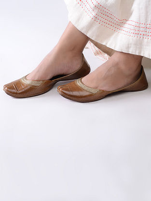 Tan Handcrafted Leather Juttis with Tilla Embroidery