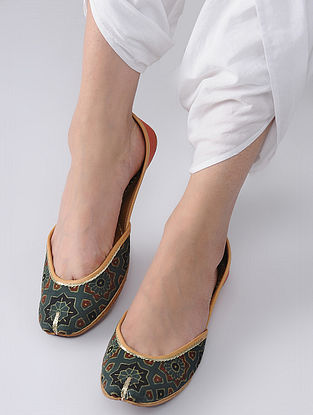 Green-Orange Handcrafted Block-Printed Cotton and Leather Juttis