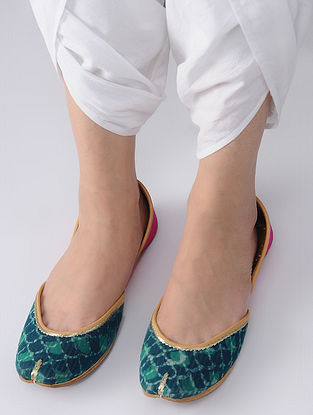 Green-Pink Handcrafted Block-Printed Cotton and Leather Juttis